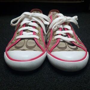 Coach Shoes - COACH pink signature monogram jacquard sneakers